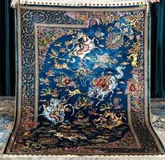 藝朮真絲手工挂毯適應客廳書房典雅飾品