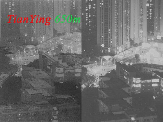 thermal imaging working distance contrast night vision working distance, show human image size is very small and especially night vision in 650m.