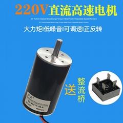 DC220V直流高速电机100W正反转电机10mm轴径直流电机 直流马达 调速电机