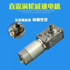 直流減速電機調速馬達12V24V渦輪蝸杆帶自鎖大扭矩正反轉低速直流電機