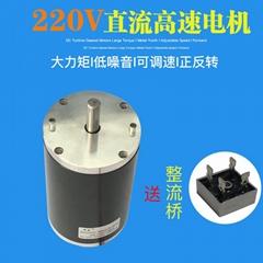 200W直流电机 永磁直流马达 大功率可调速正反转大力矩电机DC220V高速电机