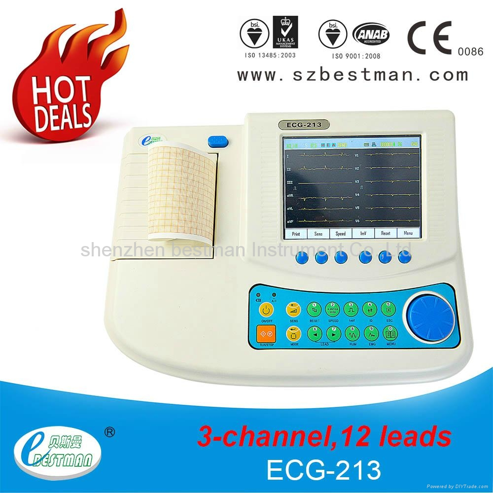 12 channel ECG machine with touch LCD screen,built-in battery,thermal printer 1