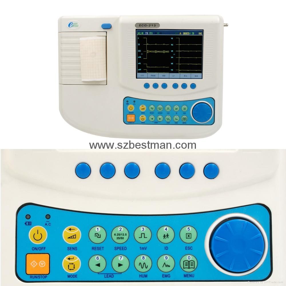 12 channel ECG machine with touch LCD screen,built-in battery,thermal printer 5