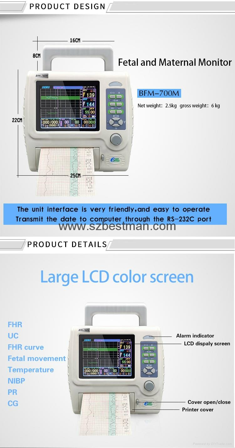 CE/FDA Portable Fetal/Mother monitor BFM-700M Hospital Use   11