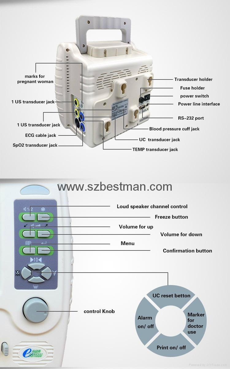 CE/FDA Portable Fetal/Mother monitor BFM-700M Hospital Use   10