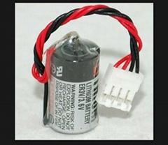 TOSHIBA 东芝 ER3V 1/2 AA 锂电池 ER3V 带4线 插头  富士触摸屏专用电池
