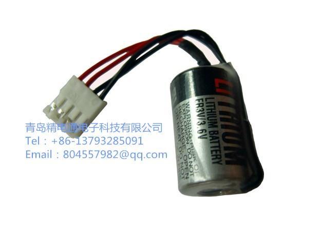 TOSHIBA 东芝 ER3V 1/2 AA 锂电池 ER3V 带4线 插头  富士触摸屏专用电池 2