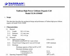 Israel TADIRAN lithium battery TLM -
