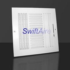 Ceiling / Sidewall 4 Way Register