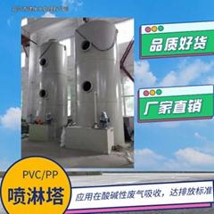 PP噴淋塔,酸碱廢氣噴淋裝置,水噴淋塔PP環保設備廢氣吸收塔