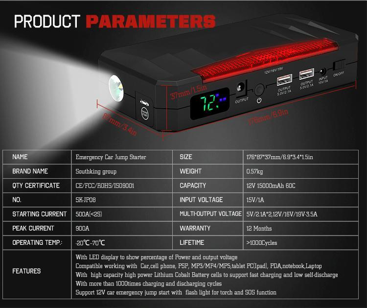 High Quality 12V Portable Emergency Car Battery Jump Starter 10