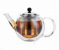 glass double wall teapot