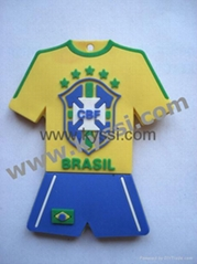 PVC Rubber World Cup Soccer Jersey Keychain Keyring
