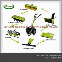 Multi-fuction Garden Machine (Sweeper ,Tiller,Mower,Silage,Pusher & Snow Blower)