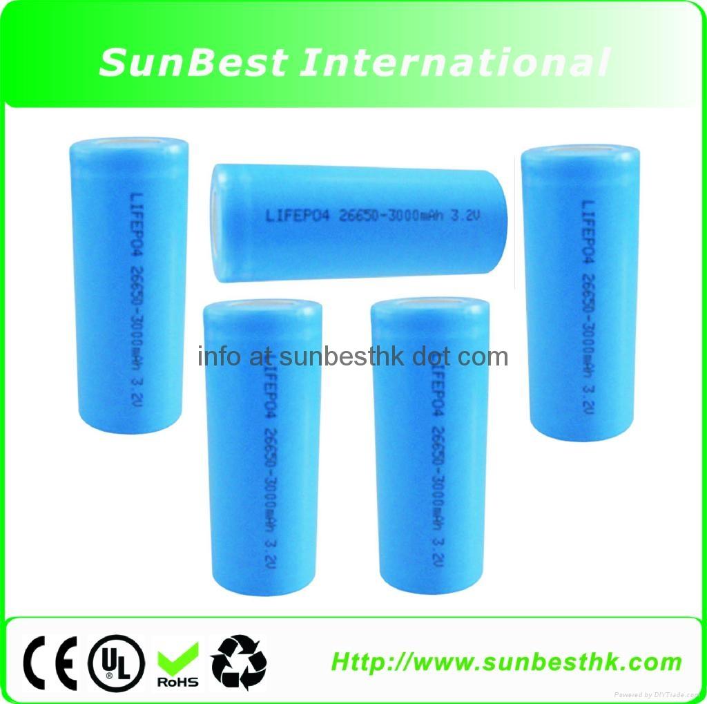 LiFePO4 26650 3000mAh 3.2V Rechargeable Battery