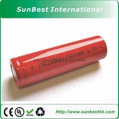 1500MAH Li-ion Cylindrical Batteries 18650 Cell For Flashlight