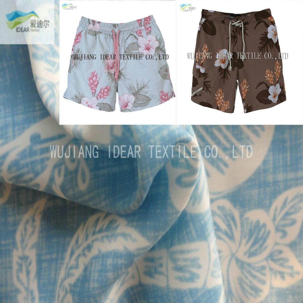 印花水洗绒 沙滩裤面料 1