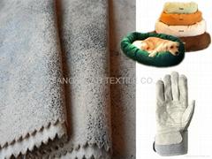 涤棉麂皮绒 麂皮绒手套 宠物睡垫