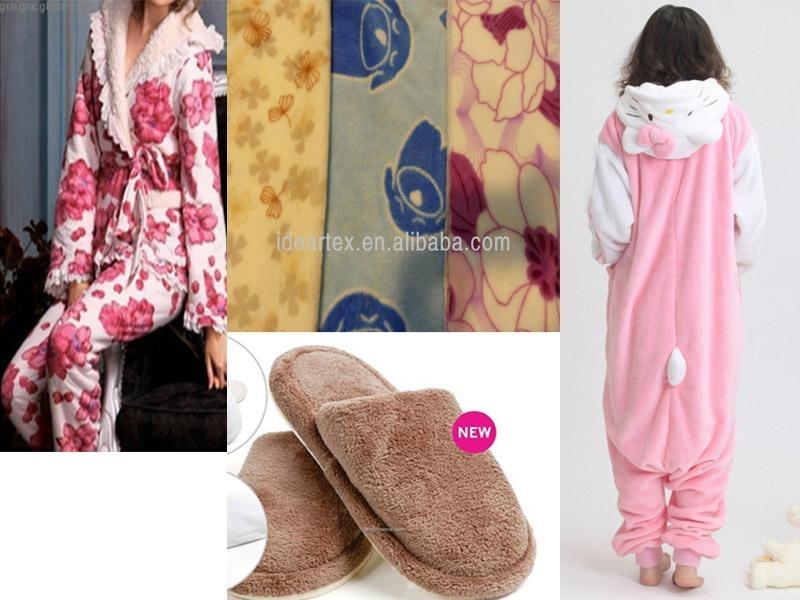 印花针织珊瑚绒 家纺 睡衣 居家服面料 1