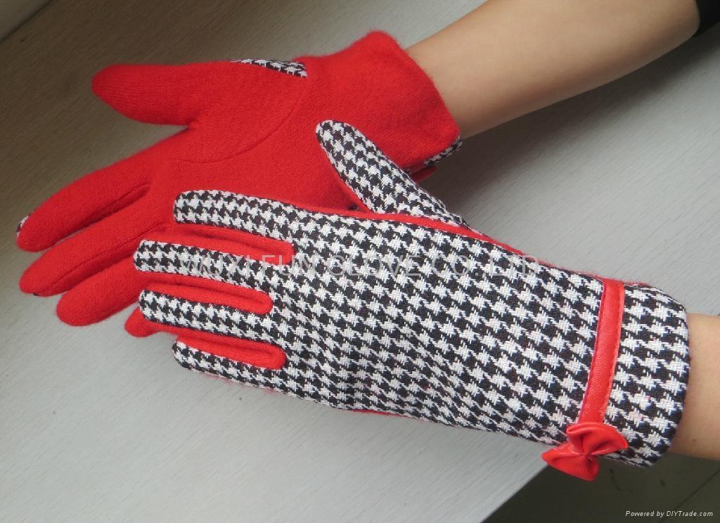冬季時尚千鳥格羊毛手套 觸屏手套 2