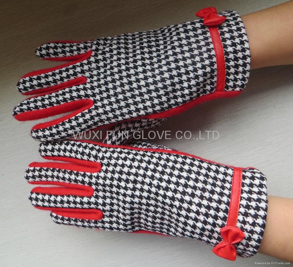 冬季時尚千鳥格羊毛手套 觸屏手套 3