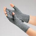 麻灰色棉質彈力關節炎手套 舒緩腫脹 減輕病痛 1