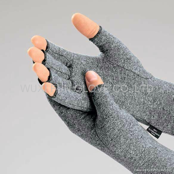 麻灰色棉質彈力關節炎手套 舒緩腫脹 減輕病痛 2