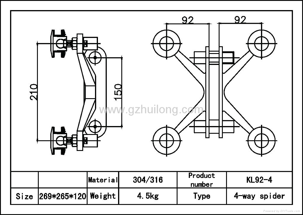 Spider Glass System Details : Kl way fin spider for glass curtain wall fitting