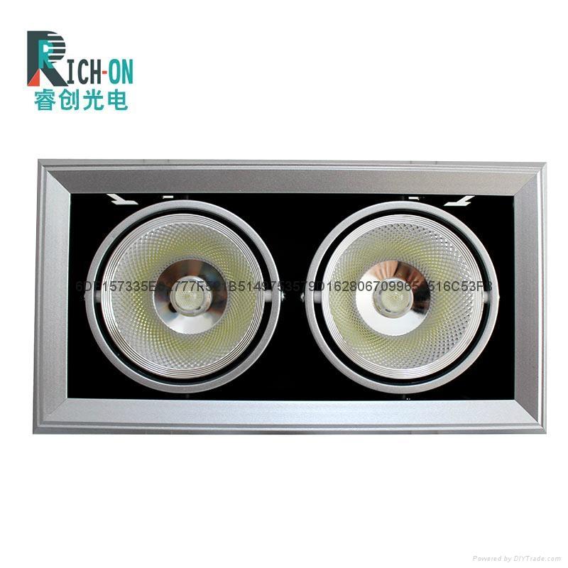 睿创AR90系列2头40W 银色斜边款LED豆胆射灯 1
