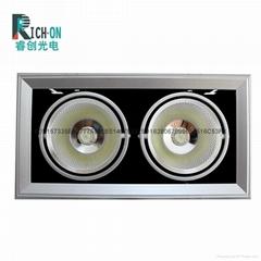 睿創AR90系列2頭40W 銀色斜邊款LED豆膽射燈