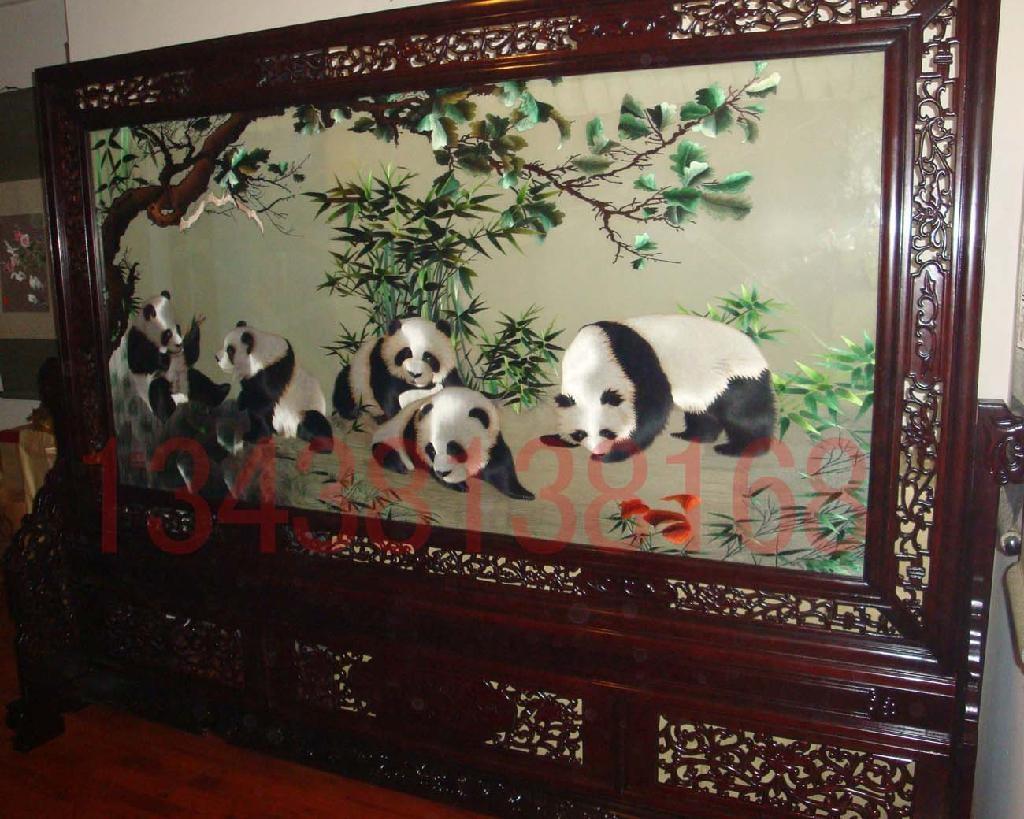 蜀绣双面枫叶五熊猫大屏风