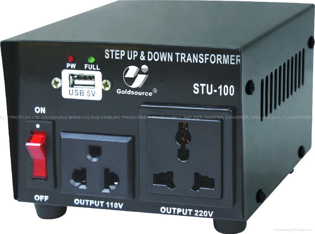 STU-100 交流昇降變壓器帶USB 1