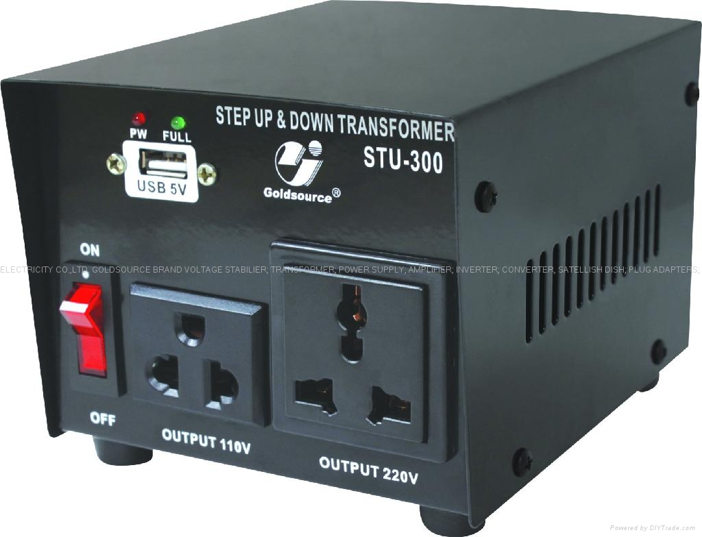 STU-300 STEP UP/ DOWN VOLTAGE TRANSFORMER WITH USB