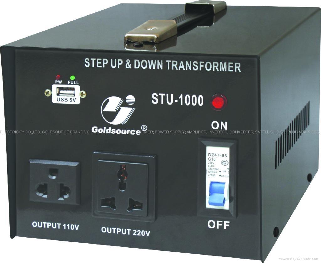 STU-1000 STEP UP/ DOWN VOLTAGE TRANSFORMER WITH 5V USB 1