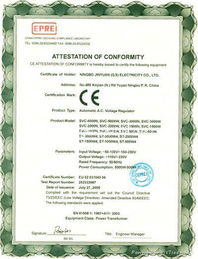 A.C VOLTAGE REGULATOR SVC-500N/ 1000N/1500N 3