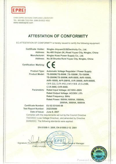 A.C VOLTAGE REGULATOR AVR-1000S /1500S 3
