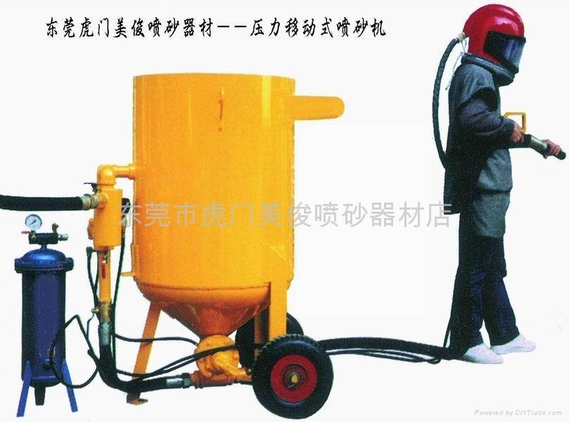 美俊生產移動式噴砂機 噴砂頭盔 活性炭空氣過濾器 空氣調溫管 噴砂手套
