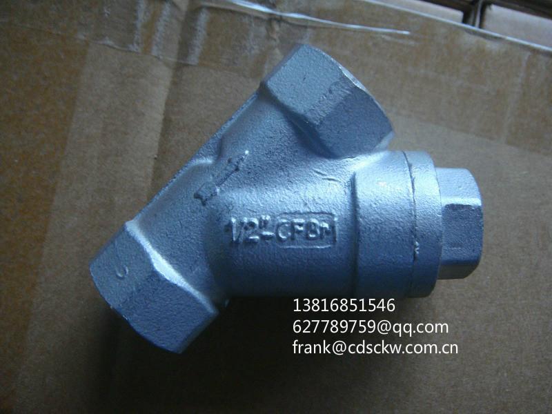 不锈钢片式螺纹球阀1000WOG Y型螺纹过滤器800lb 1