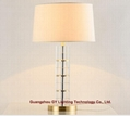 crystal table lamp, hotel guest room