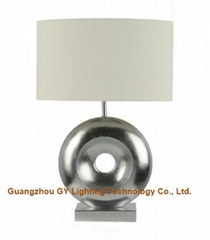 GY lighting poly resin table lamp desk lamp with fabric lampshade, silver finish