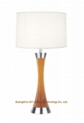 GY lighting transparent poly table lamp desk lamp with hardback fabric shades
