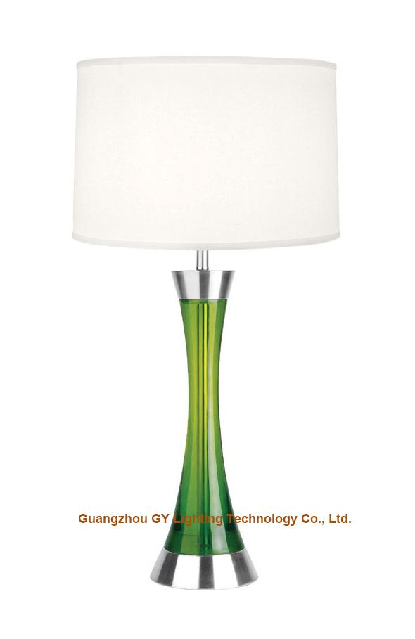 GY lighting transparent poly table lamp desk lamp with hardback fabric shades 3