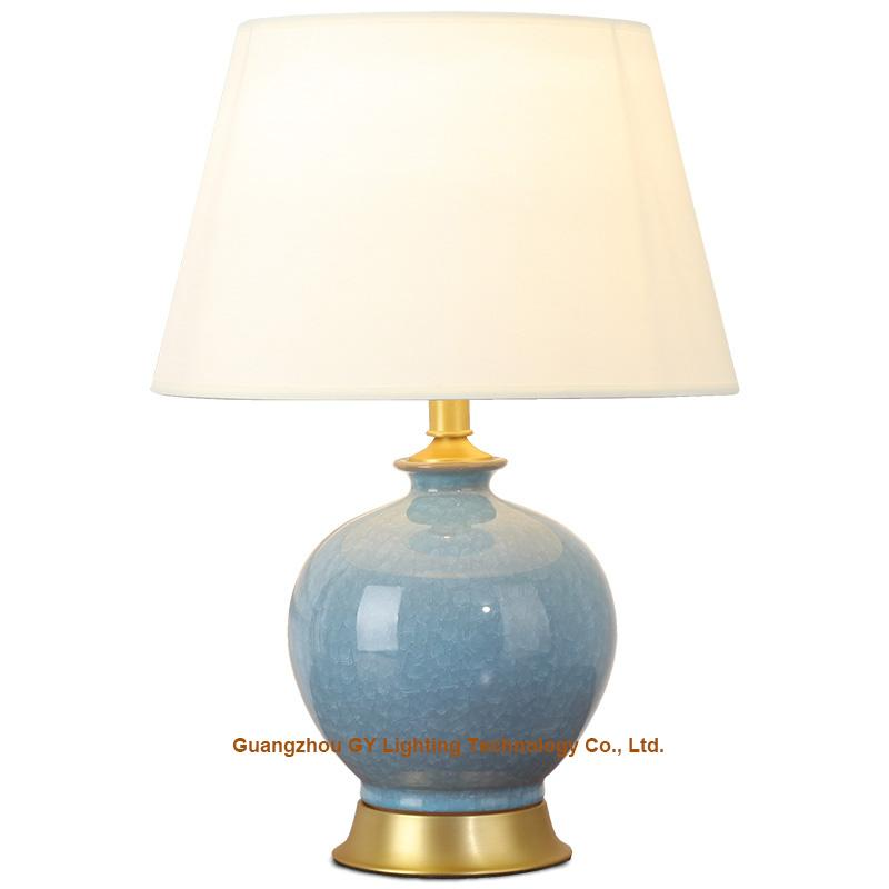 GY  lighting porcelain table lamp with fabric lampshade, brass plated base 1