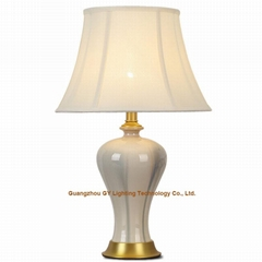 GY lighting ceramic table lamp desk lamps w/ fabric lampshade, brass plated base