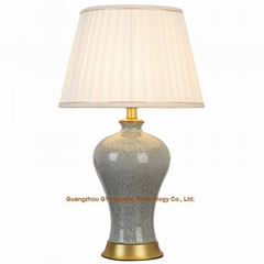 GY lighting porcelain table lamps with pleated shades for living rooms, bedrooms