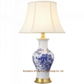 hand made blue and white porcelain ceramic table lamps for living room, bedroom