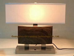 metal table lamp with based switch and side outlet for hotels, hospitality, inns