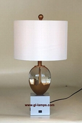 hotel table lamps, K9 crystal, silver painted base with quality fabric lampshade