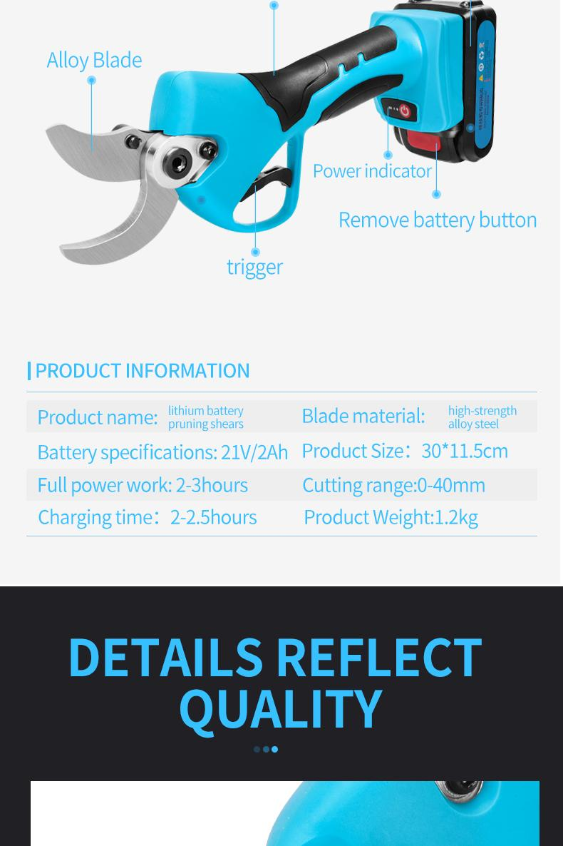 SUCA Electric Pruning Shears, Power  Pruner with Lithium Battery 9