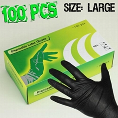NEW 100pcs Black Latex Glove Tattoo Supply Body Piercing Powder Free Size S/M/L